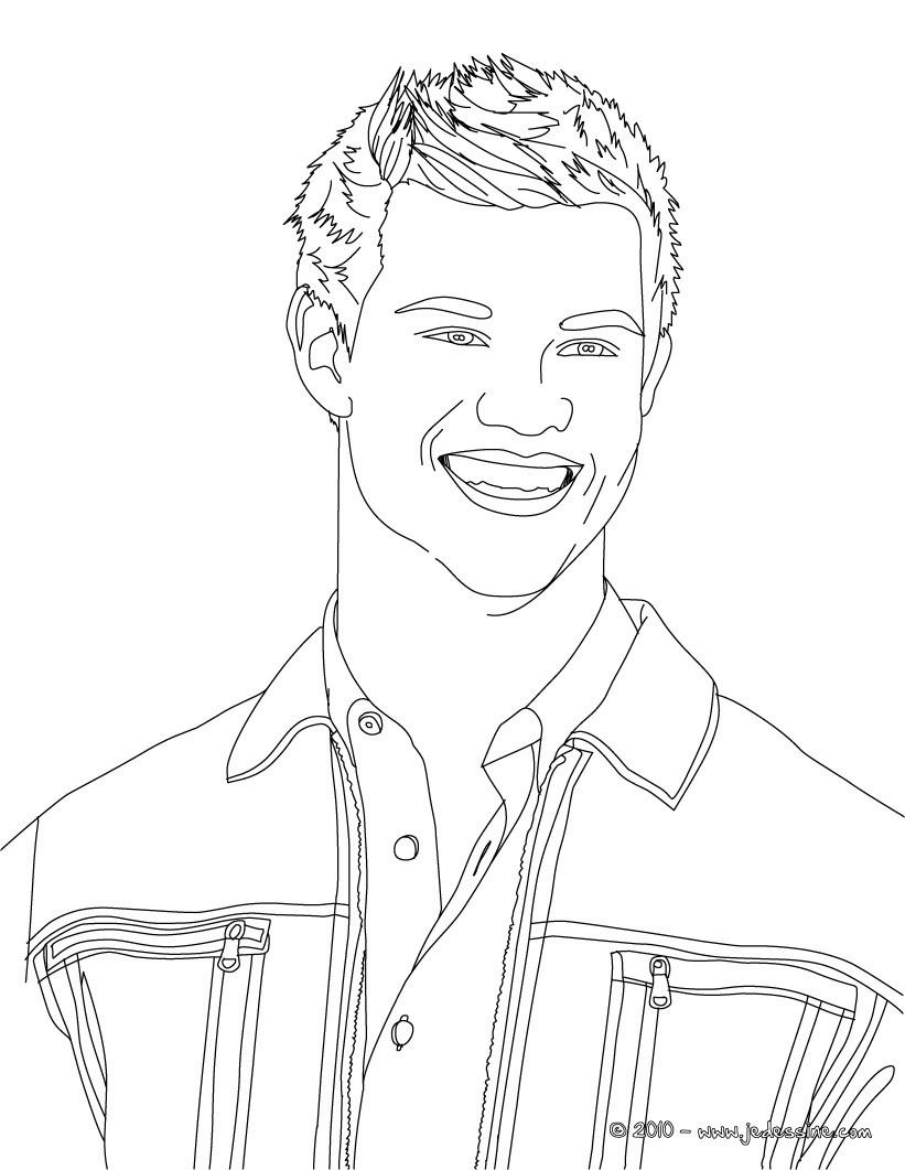 Coloriage : Taylor Lautner portrait gratuit