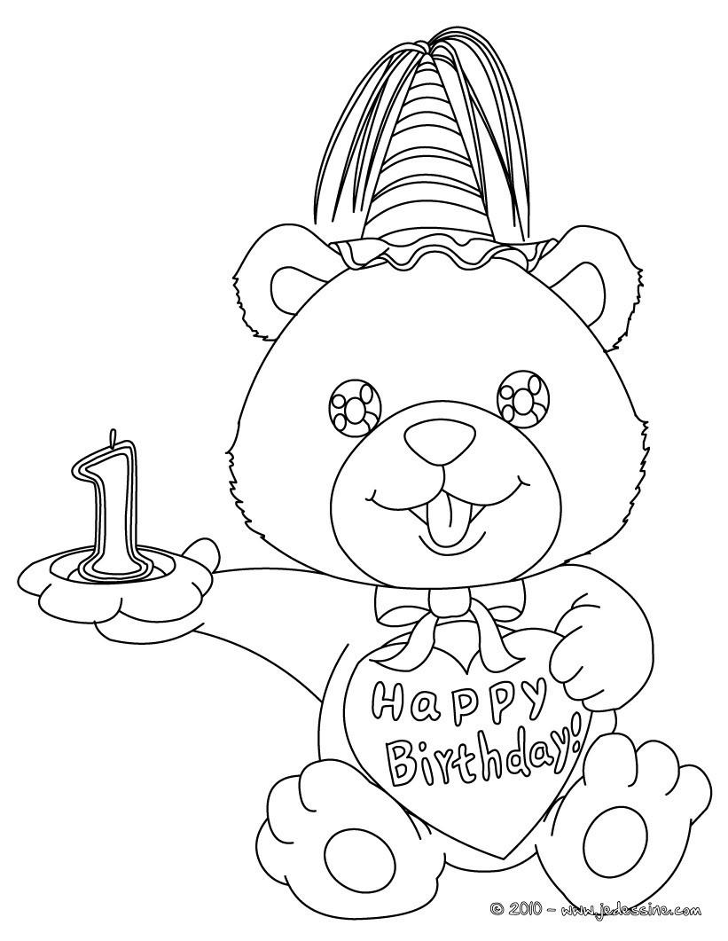 Coloriage Ourson anniversaire 1 ans