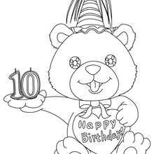 Coloriage Ourson anniversaire 10 ans