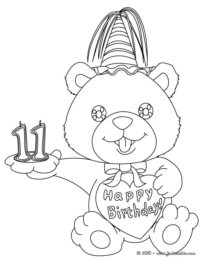 Coloriages coloriage ourson anniversaire 11 ans - Dessin d anniversaire facile ...