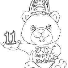 Coloriage Ourson anniversaire 11 ans
