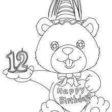 Coloriage Ourson anniversaire 12 ans