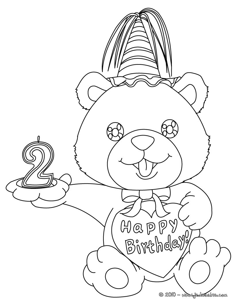 Coloriage Ourson anniversaire 2 ans