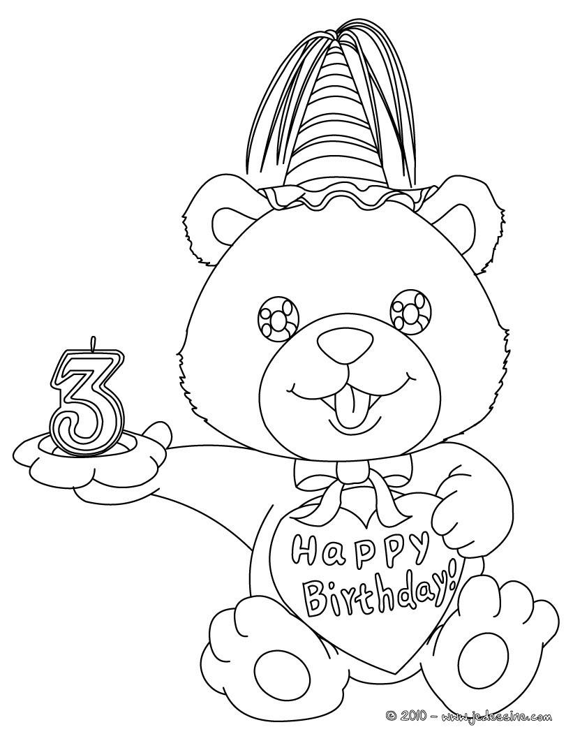 coloriage ourson anniversaire 3 ans
