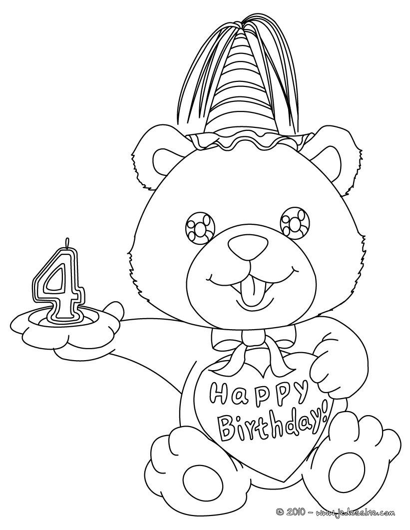 Coloriages coloriage ourson anniversaire 4 ans fr - Coloriage 4 ans a imprimer ...