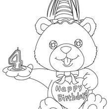 Coloriage Ourson anniversaire 4 ans