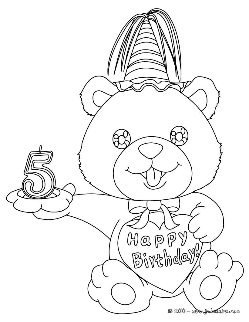 Coloriage Ourson anniversaire 5 ans