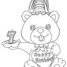 Coloriage Ourson anniversaire 7 ans