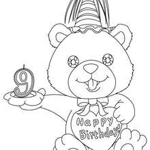 Coloriage Ourson anniversaire 9 ans