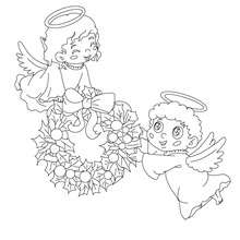 Coloriage : 2 petits anges de noel à colorier