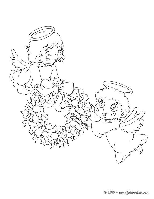 Coloriages 2 Petits Anges De Noel à Colorier Fr Hellokids Com