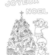 joyeux noel avec sapin à colorier - Coloriage - Coloriage FETES - Coloriage NOEL - Coloriage LETTRES ALPHABET JOYEUX NOEL