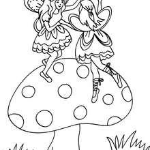 petites fées au champignon à colorier - Coloriage - Coloriage GRATUIT - Coloriage PERSONNAGE IMAGINAIRE - Coloriage FEE