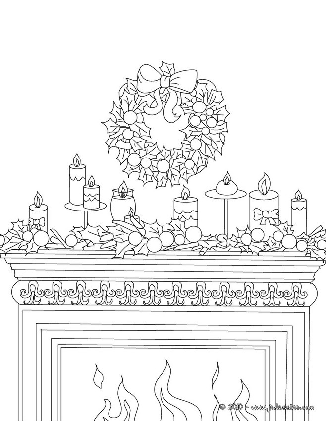 Coloriages coloriage chemin e d cor e for Decoration de noel dessin