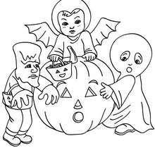 coloriage petits monstres - Coloriage - Coloriage FETES - Coloriage HALLOWEEN - Coloriage MONSTRE HALLOWEEN