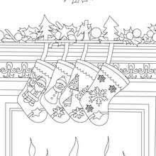 cheminée noel décorée à colorier - Coloriage - Coloriage FETES - Coloriage NOEL - Coloriage CHEMINEE DE NOEL