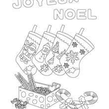joyeux noel avec chausettes à colorier - Coloriage - Coloriage FETES - Coloriage NOEL - Coloriage LETTRES ALPHABET JOYEUX NOEL