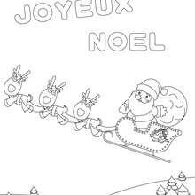 traineau joyeux noel à imprimer - Coloriage - Coloriage FETES - Coloriage NOEL - Coloriage LETTRES ALPHABET JOYEUX NOEL
