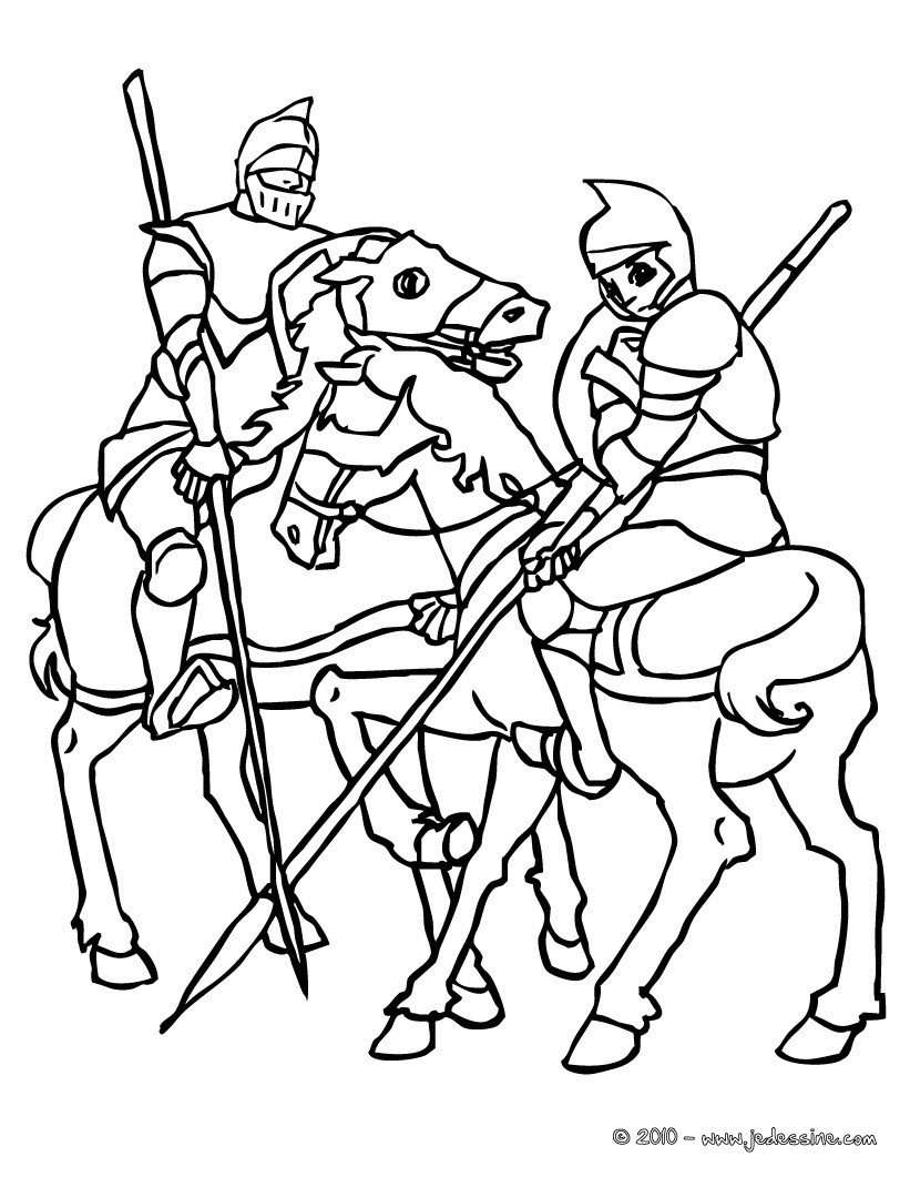Coloriages chevaliers cheval - Dessins chevaliers ...
