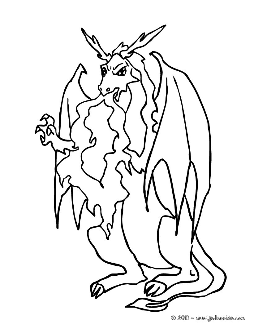 Coloriages dragon qui crache du feu - Feu coloriage ...