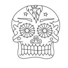 tête de mort festive à colorier - Coloriage - Coloriage FETES - Coloriage FETE DES MORTS MEXICAINE