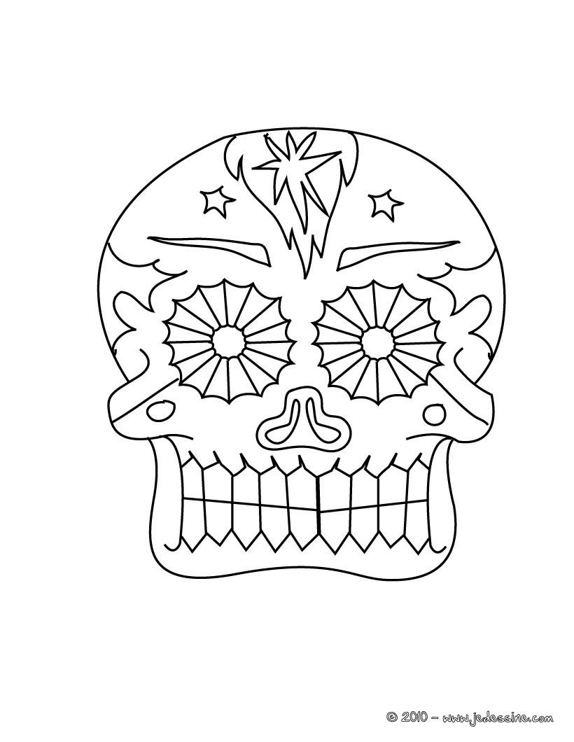 Coloriage tªte de mort festive  colorier
