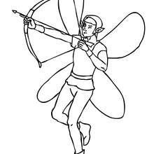 Coloriage : elfe à l'arc à imprimer