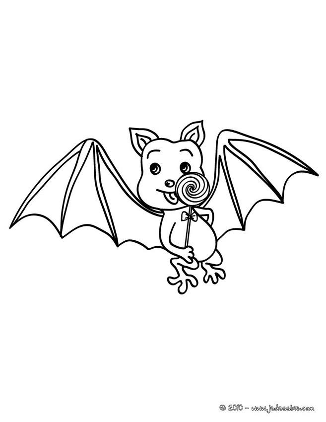 Coloriage d'Halloween : chauve-souris sucette