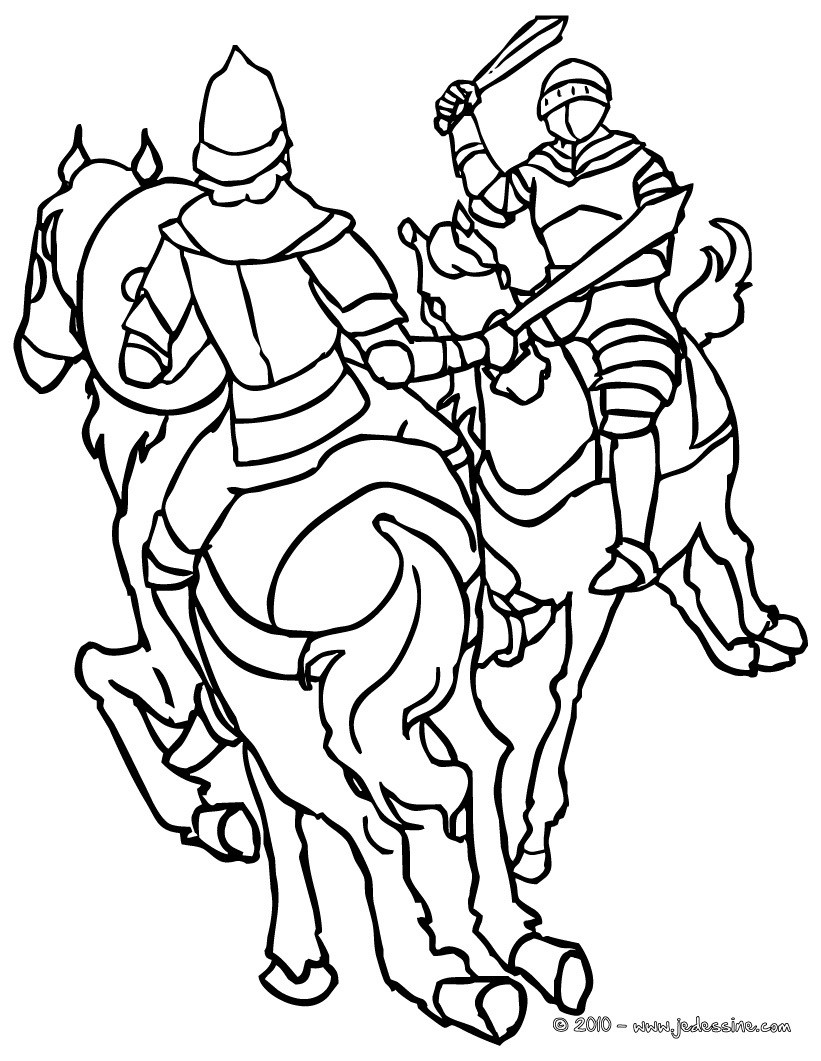 Coloriages rencontre de chevaliers - Dessins chevaliers ...