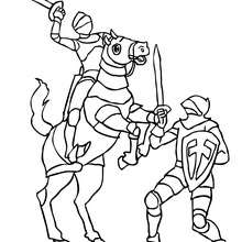 Coloriage : Combat de chevaliers