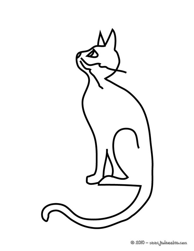 Coloriages coloriage chat assis - Dessin chat assis ...