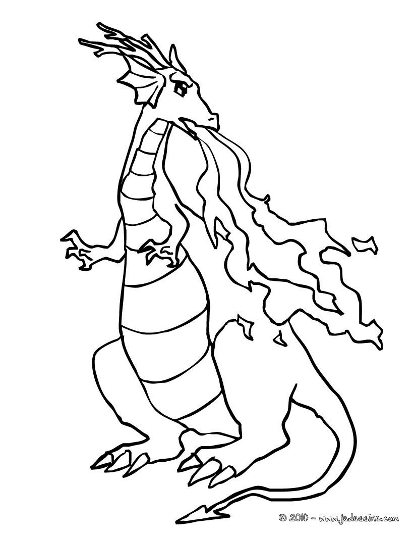 Coloriages dragon qui crache des flammes - Coloriage feu ...