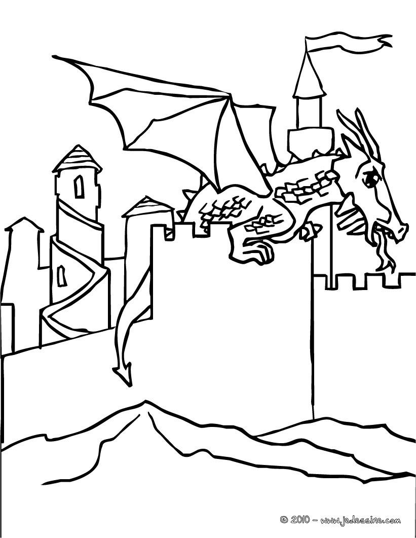 Coloriage Chateau Cheval.Coloriages Le Dragon Attaque Le Chateau Fr Hellokids Com
