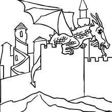 dragon volant devant chateau gratuit - Coloriage - Coloriage GRATUIT - Coloriage PERSONNAGE IMAGINAIRE - Coloriage CHEVALIERS ET DRAGONS