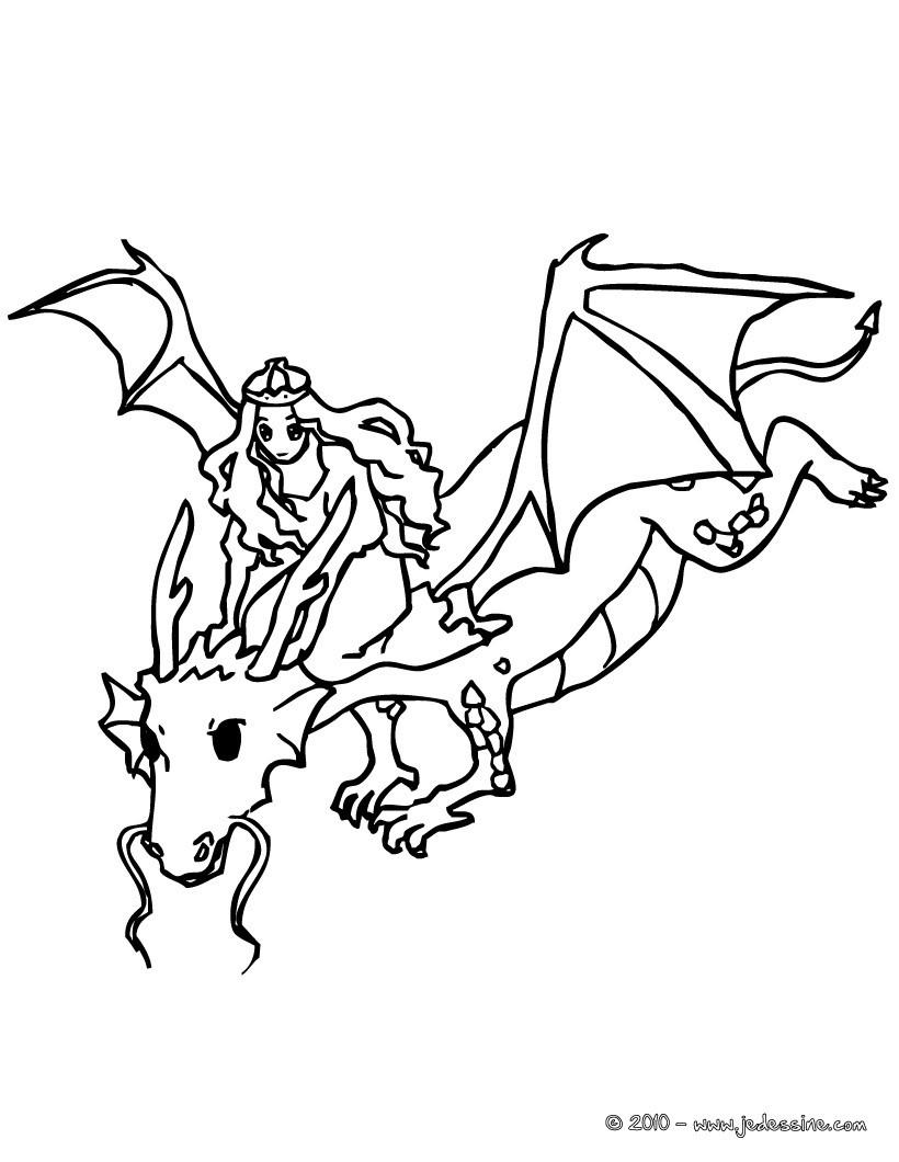 Coloriages dragon et princesse - Coloriages dragon ...