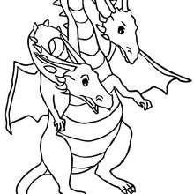 dragon double tête à imprimer - Coloriage - Coloriage GRATUIT - Coloriage PERSONNAGE IMAGINAIRE - Coloriage CHEVALIERS ET DRAGONS