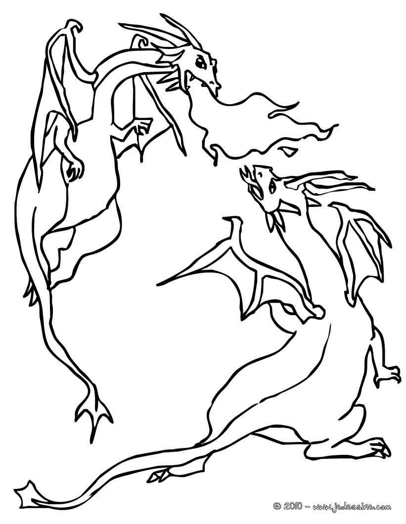 Coloriages combat de dragons - Coloriage de dragon ...