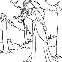 coloriage fée dans la forêt