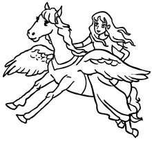 fée sur cheval ailé à colorier - Coloriage - Coloriage GRATUIT - Coloriage PERSONNAGE IMAGINAIRE - Coloriage FEE