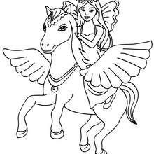 petite fée sur cheval ailé à imprimer - Coloriage - Coloriage GRATUIT - Coloriage PERSONNAGE IMAGINAIRE - Coloriage FEE