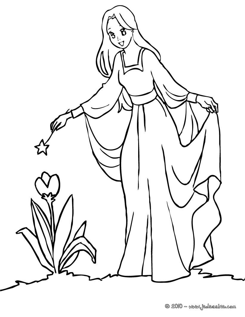 coloriage fée fleur magique