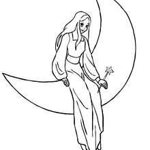 Coloriage : fée sur la lune à imprimer