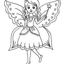 mini fée fillette à imprimer - Coloriage - Coloriage GRATUIT - Coloriage PERSONNAGE IMAGINAIRE - Coloriage FEE