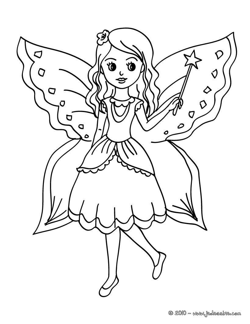 Coloriage De Fee Volante A Imprimer.Coloriages Fees Fr Hellokids Com