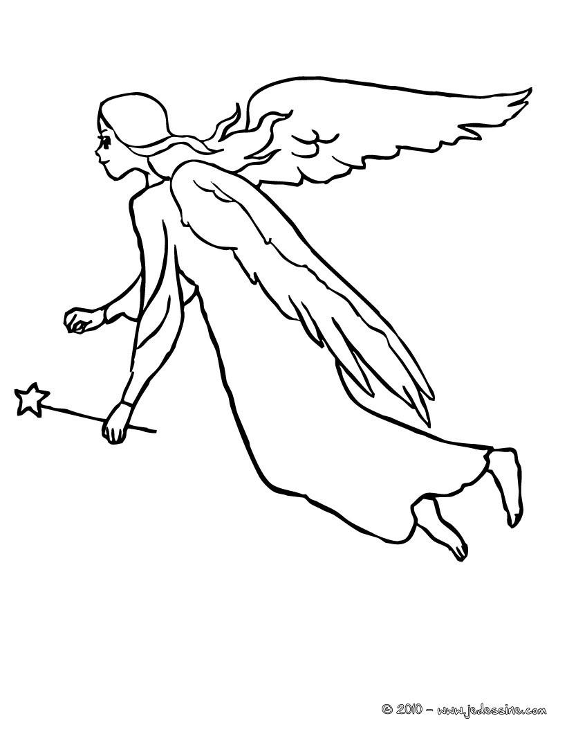 Coloriage : fée ange volant à colorier