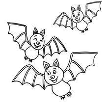 Coloriage d'Halloween : 3 chauves-souris à imprimer
