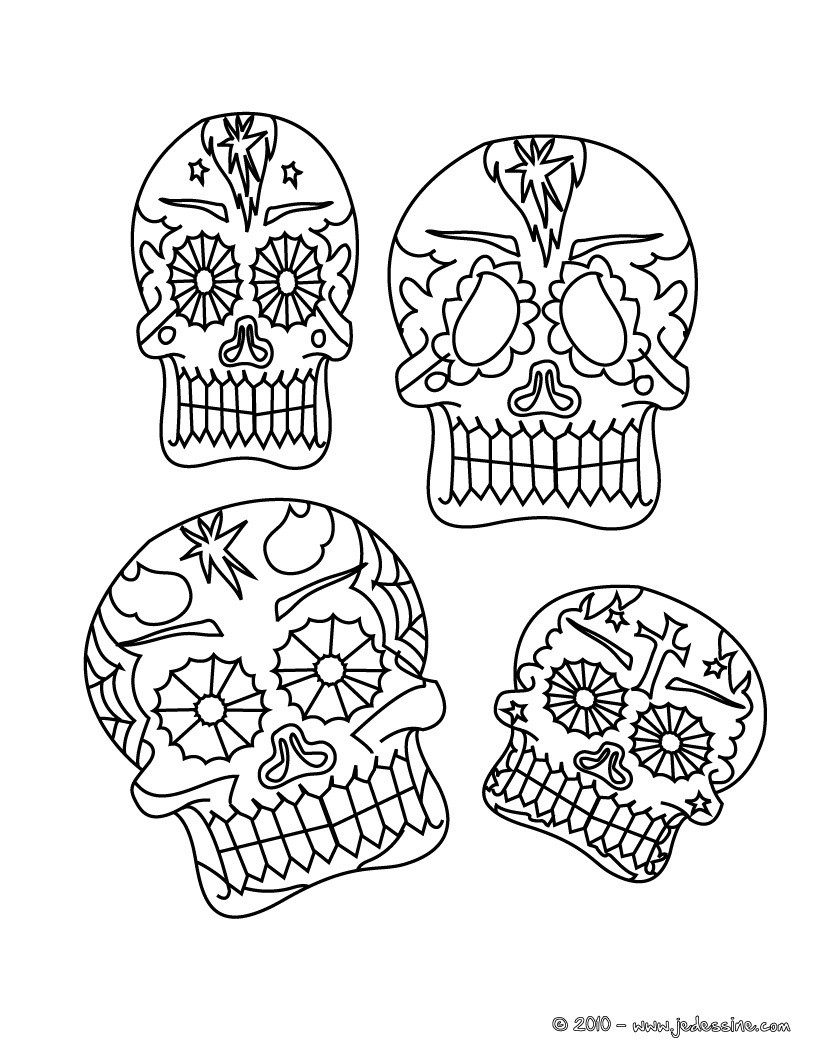 Coloriage masques mexicains tªte de mort  imprimer
