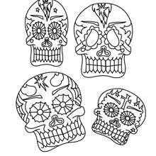 Coloriage : masques mexicains tête de mort à imprimer