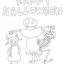 happy-halloween-with-halloween-monsters-01-n9e - Coloriage - Coloriage FETES - Coloriage HALLOWEEN - Coloriage MONSTRE HALLOWEEN
