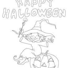 Coloriage d'Halloween : petite sorcière à la citrouille